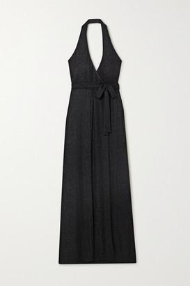 Marika Vera Metallic Striped Crepe Halterneck Wrap Maxi Dress - Black