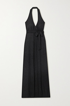 Marika Vera Metallic Striped Crepe Halterneck Wrap Maxi Dress