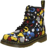 Dr. Martens Children's Delaney 8 Eye Side Zip Boot - Junior,Black/Multi Splatter
