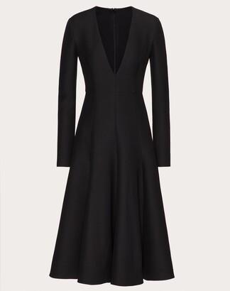 Valentino Crepe Couture Dress Women Black Silk 35%, Virgin Wool 65% 40