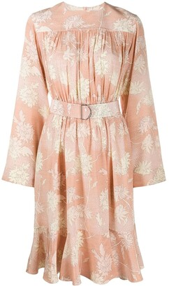 Chloé Floral Print Belted Dress