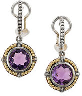 Effy Amethyst, Sterling Silver and 18K Yellow Gold Drop Earrings