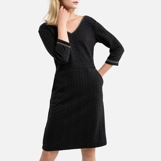 Anne Weyburn Textured Mid-Length Shift Dress with 3/4 Length Sleeves