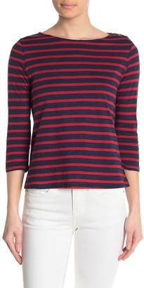 William Rast Lynette Striped 3/4 Sleeve Slub T-Shirt
