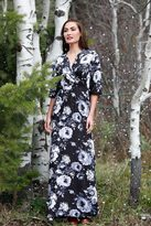 Shabby Apple Frosty Maxi Dress B&W Floral