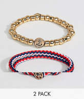 ICON BRAND Beaded & Cord Bracelet In 2 Pack Exclusive To ASOS