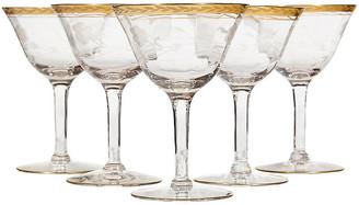 One Kings Lane Vintage Gilt Rim & Floral Etched Wine Stems - Set of 5 - 2-b-Modern