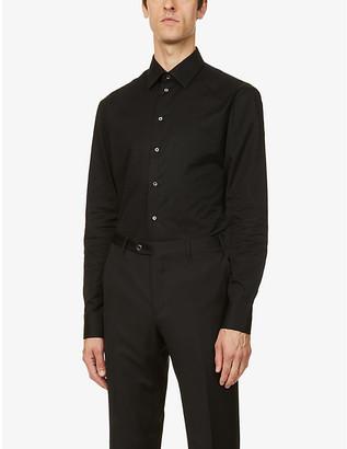 Emporio Armani Modern-fit cotton-jacquard shirt