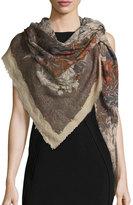 Faliero Sarti Rosalia Floral Wool & Silk Scarf, Brown/Beige