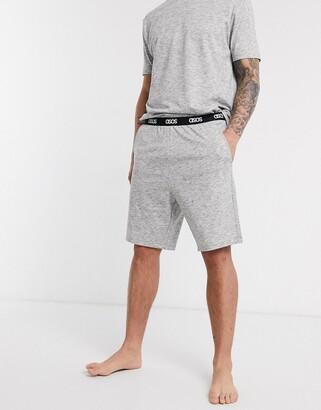 Asos DESIGN lounge pyjama short and tshirt set in charcoal slub marl with branded waistband