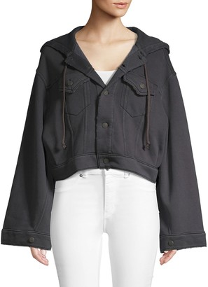 Free People Hooded Cotton Blend Cropped Jacket