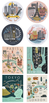 Rifle Paper Co. Cities Coasters & Assorted City Map Set (12 PC)