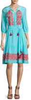 Figue Embroidered 3/4-Sleeve Peasant Dress, Blue