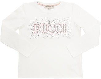 Emilio Pucci Embellished L/s Cotton Jersey T-shirt