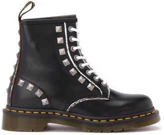 Dr. Martens 1460 Combat Boot In Black Leather With Studs