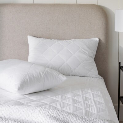 The White Company Luxury Pure Cotton Quilted Pillow Protector - Set of 2, No Colour, Cot Bed