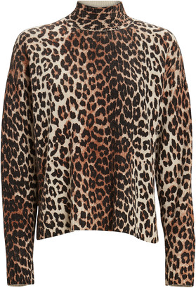Ganni Leopard Printed Mock Neck Sweater