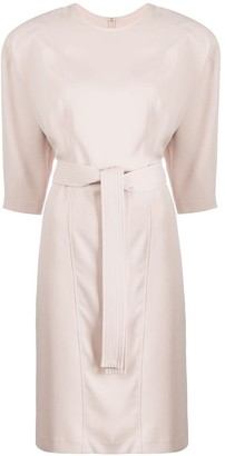 P.A.R.O.S.H. Fitted Belted Midi Dress