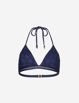 Reiss Mia floral-pattern knitted bikini top