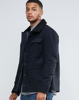 Tokyo Laundry 50% Wool Lined Borg Collar Jacket