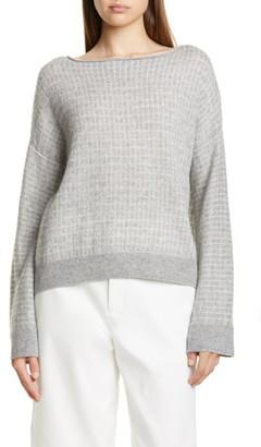 Vince Texture Grid Wool & Cashmere Blend Boatneck Sweater