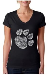 LA Pop Art Women's Word Art V-Neck T-Shirt - Cat Paw