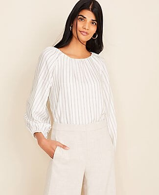 Ann Taylor Tall Striped Shirred Neck Blouse