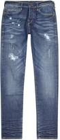 True Religion Rocco Blue Distressed Slim-leg Jeans