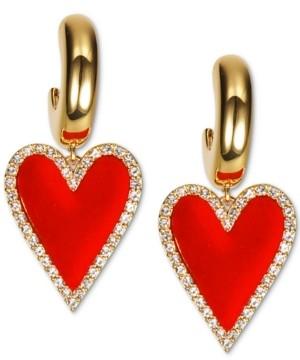 INC International Concepts Inc Gold-Tone Pave & Velvet Heart Charm Hoop Earrings, Created for Macy's