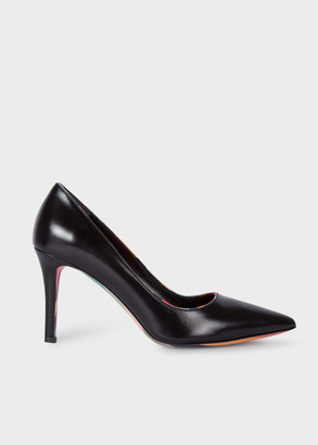Paul Smith Women's Black Leather 'Blanche' Heels with Swirl Detailing
