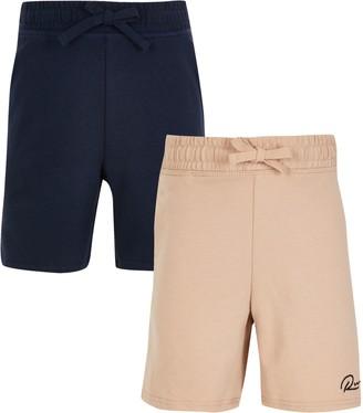 River Island Boys Beige 'River' shorts 2 pack