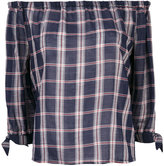 Paige checked off-shoulders blouse