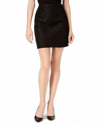 Anne Klein Women's Side Zipper Tweed Midi Skirt