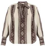 Sea Striped-paisley print tie-neck silk blouse
