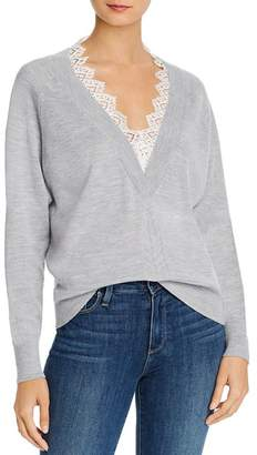 Rebecca Taylor Lace-Trimmed Merino Wool Sweater