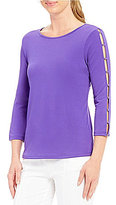 Investments 3/4 Button Sleeve Solid Top