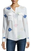 Equipment Lynn Floral-Print Long-Sleeve Top, Bright White