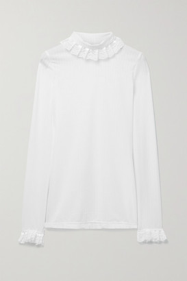 ÀCHEVAL PAMPA Escalada Ruffled Lace-trimmed Ribbed-jersey Turtleneck Sweater - White