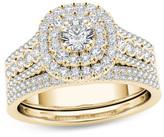 Zales 1 CT. T.W. Diamond Double Cushion Frame Multi-Row Bridal Set in 14K Gold
