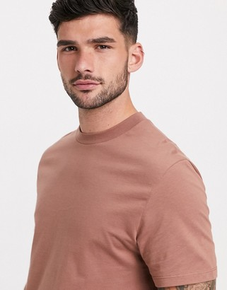 ASOS DESIGN longline t-shirt with side splits in brown