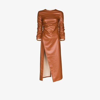 A.W.A.K.E. Mode High Slit Faux Leather Midi Dress