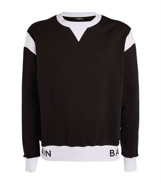 Balmain Logo Two-Tone Sweatshirt