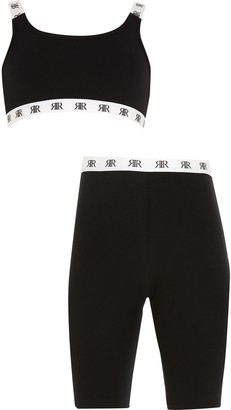 River Island Girls Black crop top and cycling shorts set