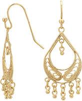 JCPenney Bridge Jewelry Silver Reflections Gold Over Brass Filigree Fringed Teardrop Chandelier Earrings