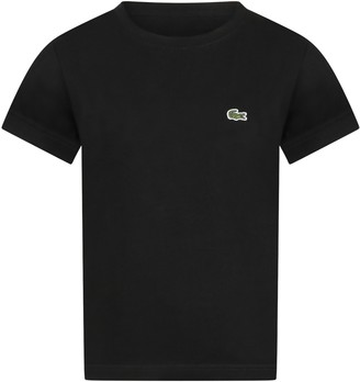 Lacoste Black T-shirt For Boy With Crocodile