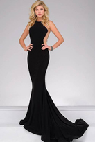 Jovani 41056A Alluring Sheer Side Jersey Fitted Gown
