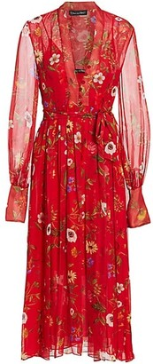 Oscar de la Renta Floral Chiffon Midi Dress