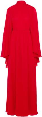Giambattista Valli Cape-effect Gathered Silk-chiffon Gown