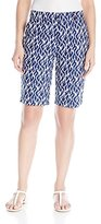 Caribbean Joe Women's Printed Cotton Twill Coral Geo Slant Bermuda Short
