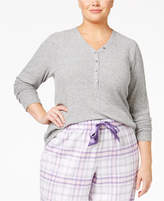Alfani Plus Size Ribbed Henley Pajama Top, Created for Macy's